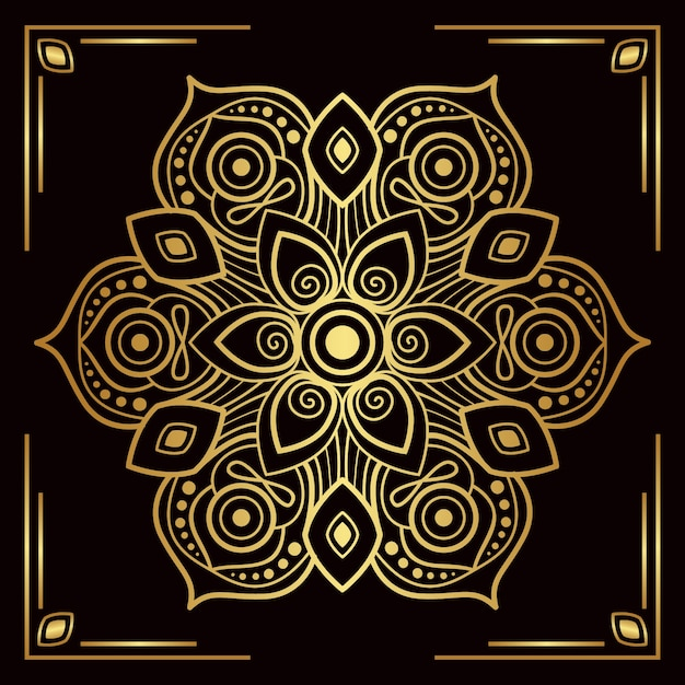 Luxe gouden mandala achtergrond Gratis Vector