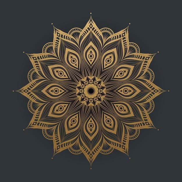 Luxe gouden mandala kunstkant Premium Vector