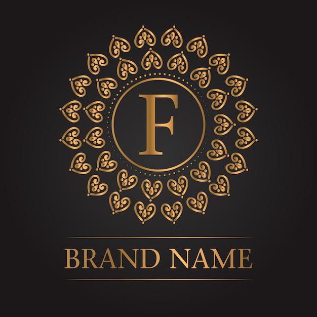 Luxe gouden sjabloon monogram Gratis Vector