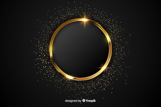 Luxe gouden sprankelende frame achtergrond Gratis Vector