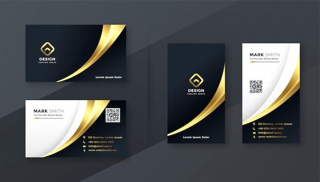 Luxe gouden visitekaartje sjabloon set Gratis Vector