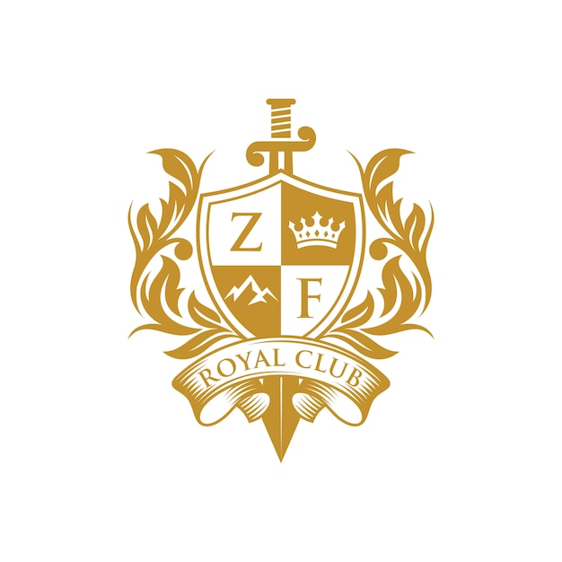 Luxe heraldische embleem sjabloon Premium Vector