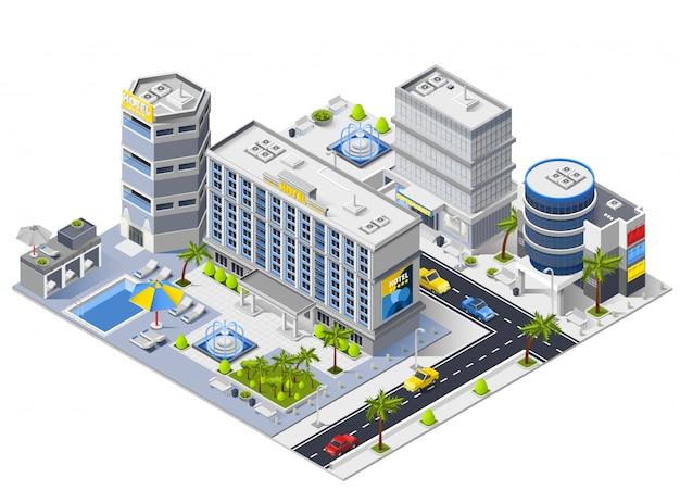 Luxe hotel gebouwen isometrische samenstelling Gratis Vector