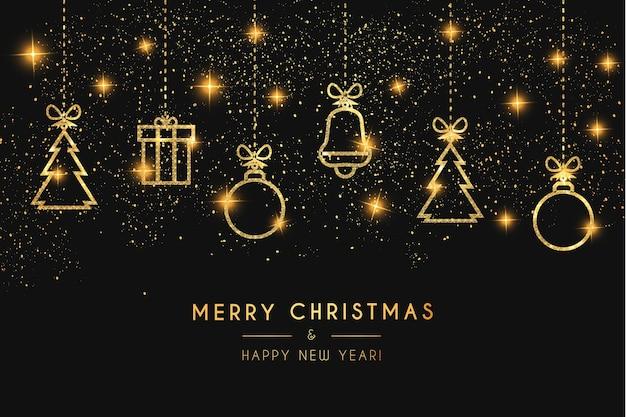 Luxe kerstkaart met leuke kerst gouden pictogrammen met textuur Gratis Vector