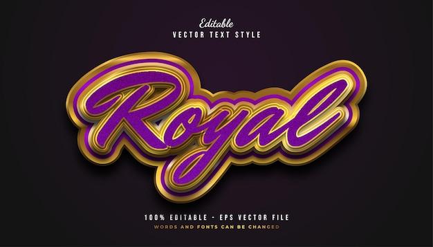 Luxe koninklijk tekststijleffect in paars en goud Premium Vector