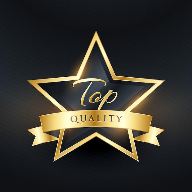 Luxe kwaliteitslabel ontwerp met gouden lint Gratis Vector