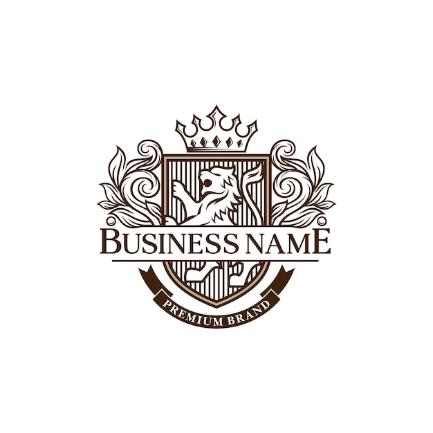 Luxe leeuwen heraldische logo ontwerpsjabloon Premium Vector