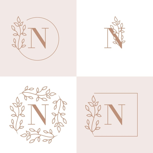 Luxe letter n logo ontwerp met bloemen frame achtergrond sjabloon Premium Vector