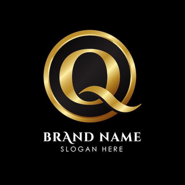 Luxe letter q-logo sjabloon in goud kleur Premium Vector
