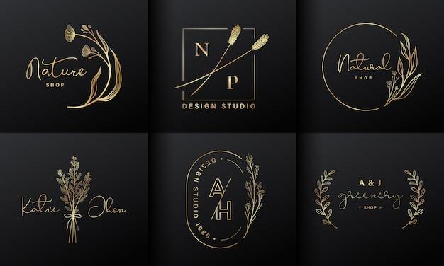 Luxe logo-ontwerpcollectie voor branding, identiteit van het bedrijf Gratis Vector