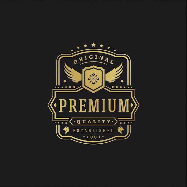 Luxe logo ontwerpsjabloon vector illustratie victoriaanse vignetten koninklijke sieraad vormen voor logo of labelontwerp. Premium Vector