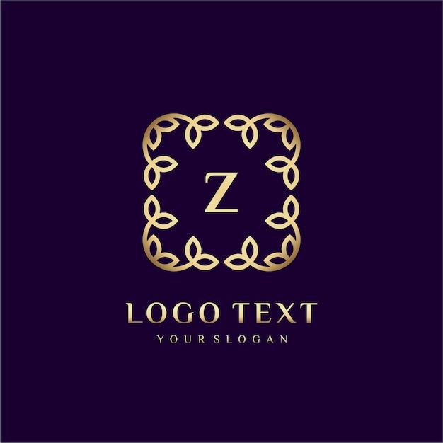 Luxe logosjabloon (z) voor uw merk met florale decoratie Premium Vector