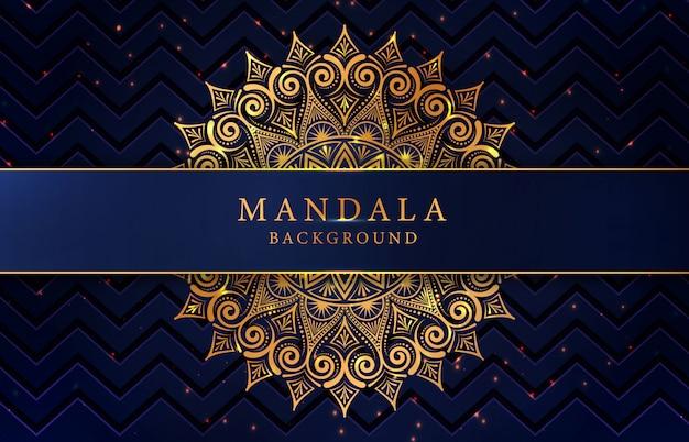 Luxe mandala achtergrond met gouden arabesque decoratie Premium Vector