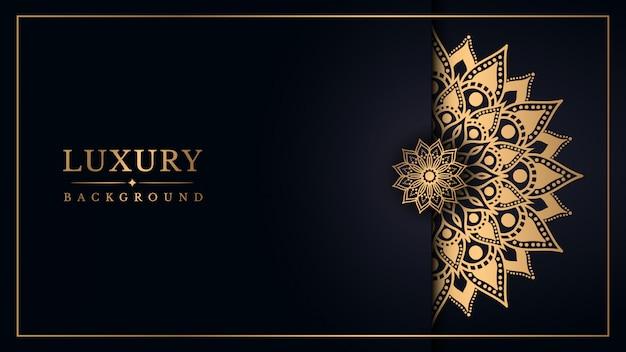Luxe mandala achtergrond met gouden arabesque design arabische oost-stijl Premium Vector