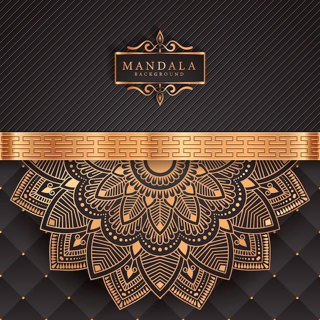 Luxe mandala achtergrond met gouden arabesque patroon Premium Vector