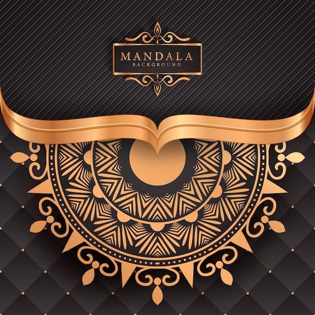 Luxe mandala achtergrond met gouden arabesque Premium Vector