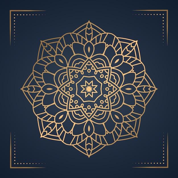 Luxe mandala achtergrond voor boekomslag, bruiloft uitnodiging. Premium Vector