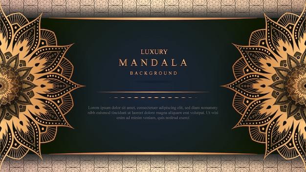 Luxe mandala banner met gouden decoratie Premium Vector