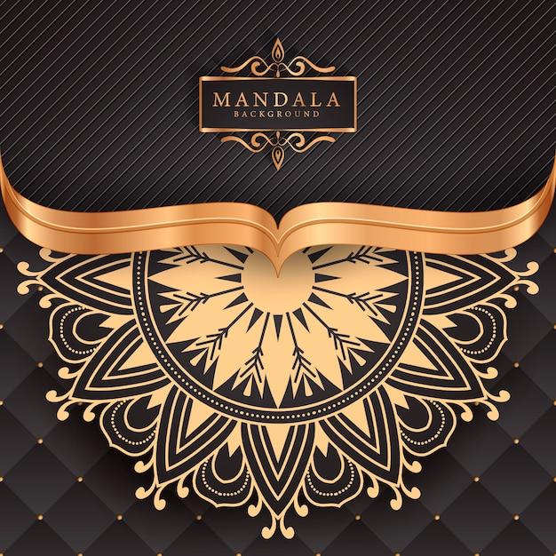 Luxe mandala decoratieve etnische element achtergrond Premium Vector