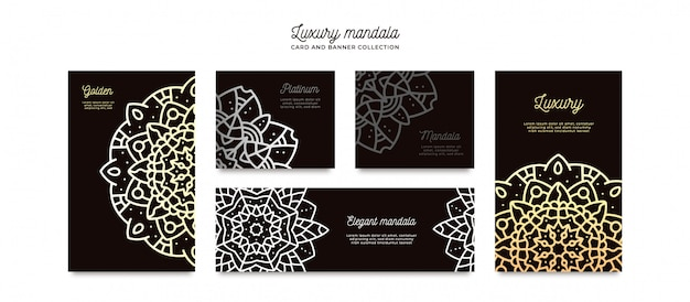 Luxe mandala kaartsjabloon collectie Gratis Vector