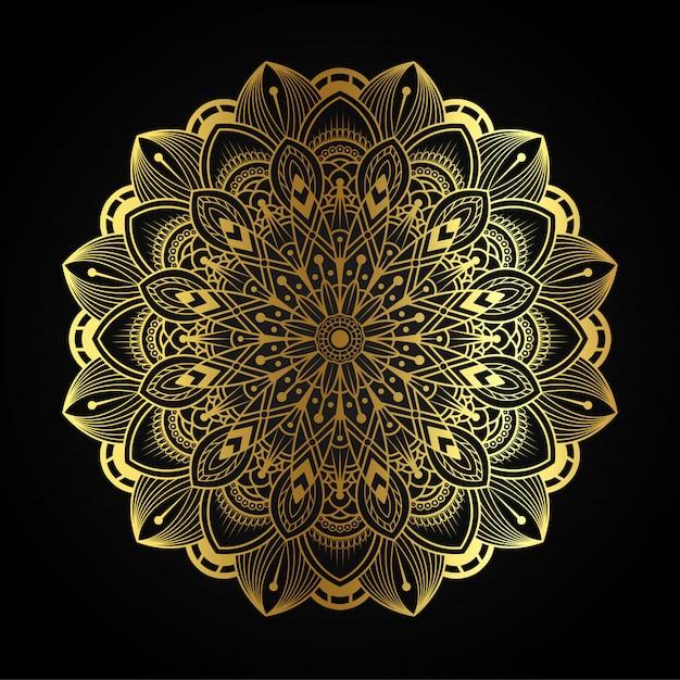 Luxe mandala kunst met gouden arabesque illustratie Premium Vector