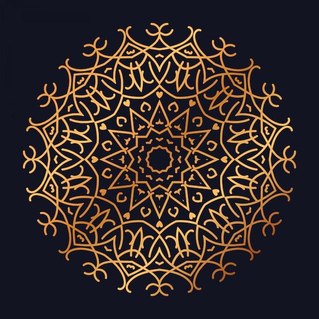 Luxe mandala met gouden arabesk design arabische islamitische stijl Premium Vector