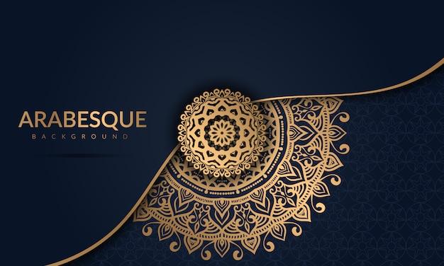 Luxe mandala met gouden arabesk patroon arabische islamitische oost-stijl Premium Vector