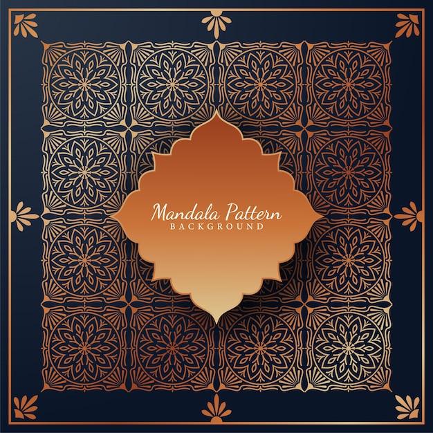 Luxe mandala patroon achtergrond met gouden arabesque ornamenten arabische islamitische oost-stijl Premium Vector
