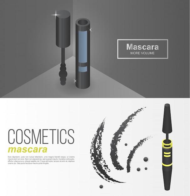 Luxe mascara banner set, isometrische stijl Premium Vector