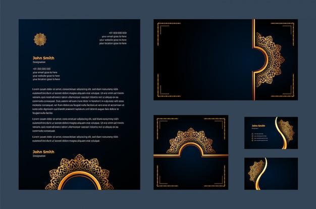Luxe merkidentiteit of stationaire ontwerpsjabloon met luxe decoratieve mandala arabesque, visitekaartje, briefhoofd Premium Vector
