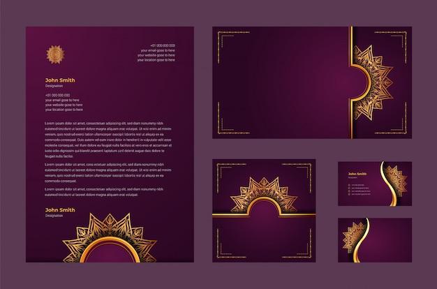 Luxe merkidentiteit of stationaire ontwerpsjabloon met luxe decoratieve mandala Premium Vector