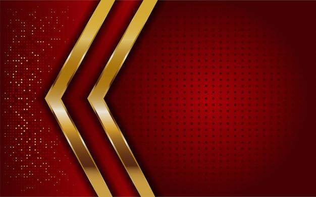 Luxe moderne abstracte rode en gouden lijnen achtergrond. elegante moderne achtergrond. Premium Vector