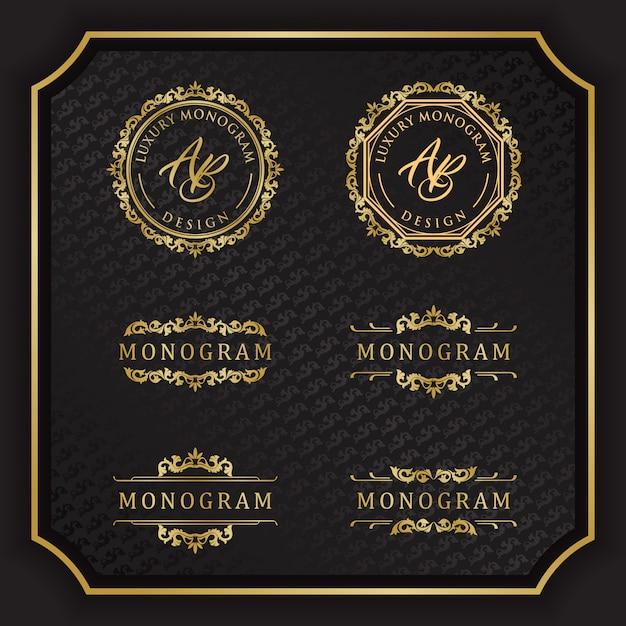 Luxe monogram ontwerp met elegante zwarte achtergrond Premium Vector