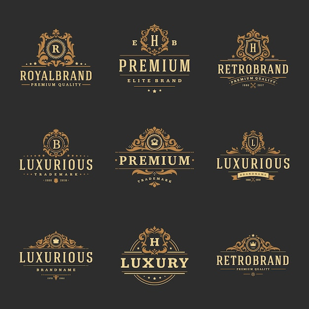 Luxe monogrammen logo's Premium Vector