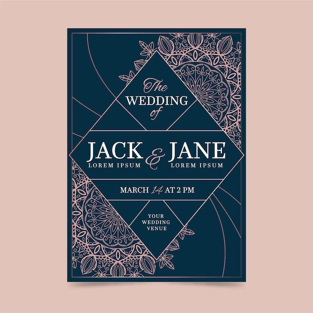 Luxe ontwerpsjabloon bruiloft uitnodiging Gratis Vector