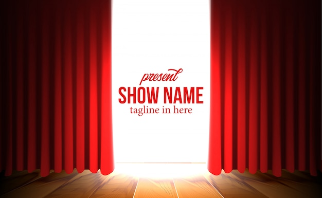 Luxe opening rood gordijn achtergrond met spotlight show Premium Vector