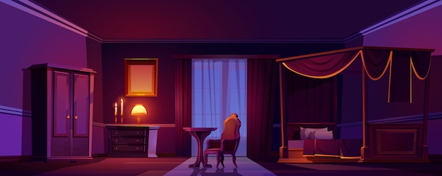 Luxe oude slaapkamer interieur in de nacht. lege donkere kamer met houten meubilair en gouden decoratie Gratis Vector