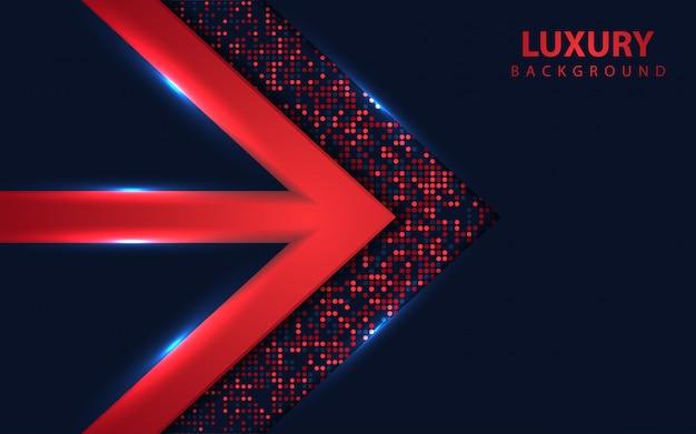 Luxe overlappen donkerblauwe achtergrond met glitters element Premium Vector