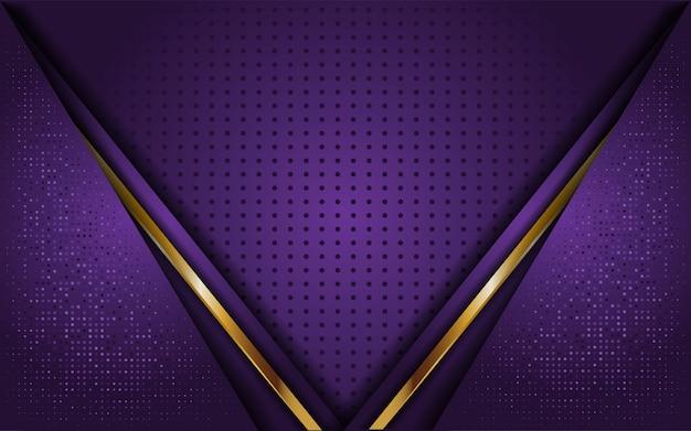 Luxe paarse achtergrond met lijn goud Premium Vector