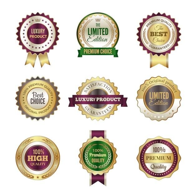 Luxe premium badges. hoge kwaliteit gouden kroon beste keuze labels en stempel sjabloon voor certificaat en documenten Premium Vector