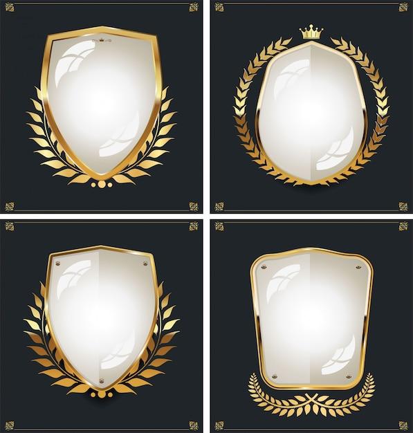 Luxe premium gouden badge set Premium Vector