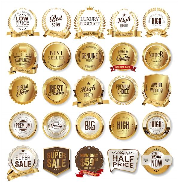 Luxe premium gouden insignes en labels Premium Vector