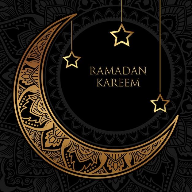Luxe ramadan kareem-spandoek met gouden halve maan en sterrenornament Premium Vector