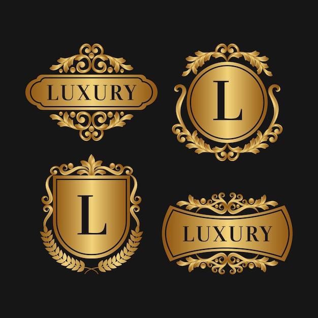 Luxe retro logo collectie gouden stijl Gratis Vector