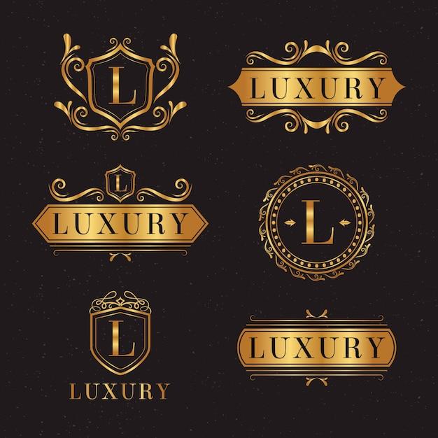 Luxe retro logo-collectie Gratis Vector