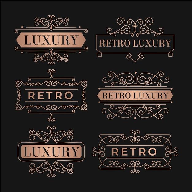 Luxe retro logo templates-collectie Gratis Vector