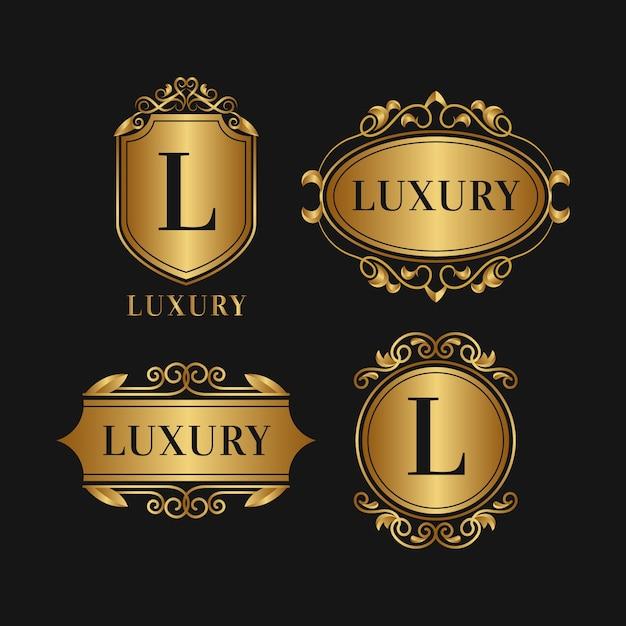 Luxe retro-stijl logo-collectie Gratis Vector