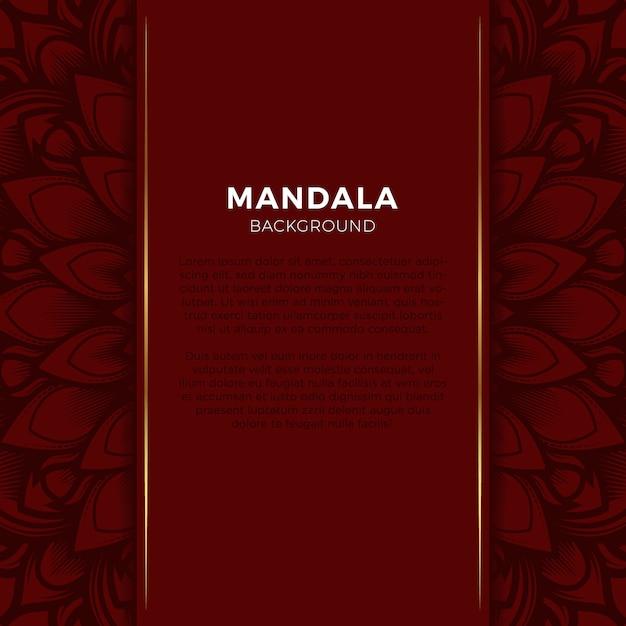 Luxe rode achtergrond mandala Premium Vector