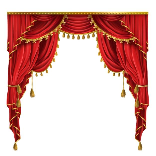 Luxe rode gordijnen in victoriaanse stijl, met draperie, verbonden met gouden koord Gratis Vector