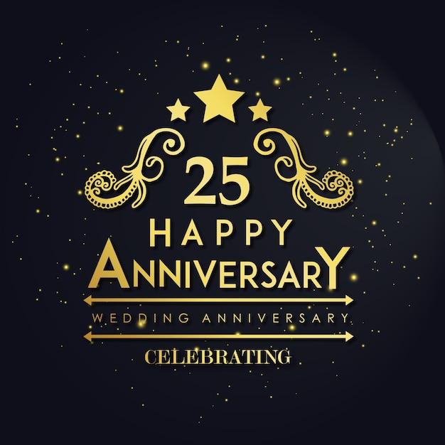 Luxe royal 25 huwelijksverjaardag Gratis Vector